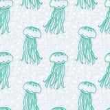 Modelo del vector con las medusas y las burbujas Imagen de archivo libre de regalías