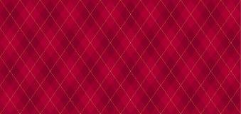 Modelo del vector de Argyle Rojo oscuro con la línea de puntos de oro fina imágenes de archivo libres de regalías