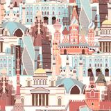 Modelo del vector de la arquitectura de Rusia Fondo inconsútil del símbolo ruso stock de ilustración