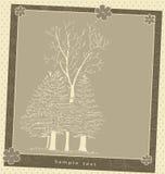 Modelo del vector de la composición de la planta de la tarjeta de felicitación del vintage Imagen de archivo