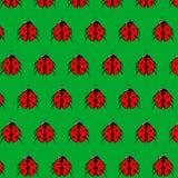Modelo del vector de la mariquita con el fondo verde La textura sin fin se puede utilizar para el papel pintado, imprimiendo en t Imagen de archivo libre de regalías