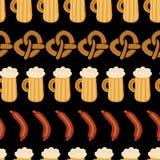 Modelo del vector de la salchicha de la cerveza de los pretzeles de Oktoberfest stock de ilustración