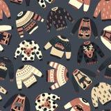 Modelo del vector de los suéteres del día de fiesta de la Navidad del vintage stock de ilustración
