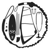 Modelo del vector del equipo del windsurf Imágenes de archivo libres de regalías