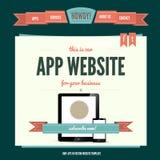 Modelo del vector del Web site con estilo del wintage Imagen de archivo