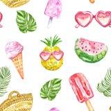 Modelo del verano del Watercolour con las frutas frescas, el helado, las gafas de sol, los polos y las hojas tropicales en el fon