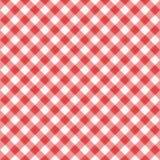 Modelo diagonal rojo inconsútil de la guinga, o paño de la tela Imágenes de archivo libres de regalías