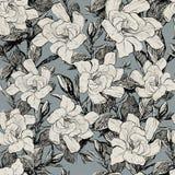 Modelo dibujado mano botánica azul inconsútil Peonía en el papel viejo Imagen de archivo libre de regalías