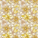 Modelo dibujado mano con el ornamento floral decorativo Flores coloridas estilizadas Fondo del neutral de la primavera del verano Foto de archivo libre de regalías