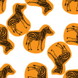 Modelo dibujado mano de la cebra Objeto anaranjado en blanco Fotos de archivo libres de regalías