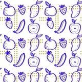 Modelo dibujado mano de la fruta Textura de la impresión Diseño de la tela Foto de archivo