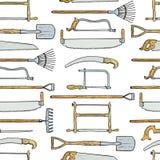 Modelo dibujado mano de los utensilios de jardinería stock de ilustración