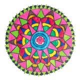 Modelo dibujado mano decorativa colorida de la mandala fotos de archivo
