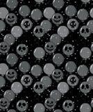Modelo dibujado mano divertida del vector de Halloween Grey Balloons oscuro asustadizo con las caras del fantasma ilustración del vector