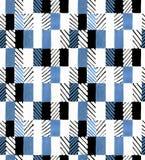 Modelo dibujado mano geométrica inconsútil Rectángulos coloreados y rayas Diseño para la tela, papel pintado, carteles Foto de archivo