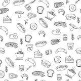 Modelo dibujado mano inconsútil de los artículos y de los símbolos, hamburguesa, pizza, bebidas, fritadas, ejemplo de los aliment Fotografía de archivo libre de regalías
