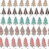 Modelo dibujado mano inconsútil del día de fiesta con los árboles de navidad coloridos en el fondo blanco Ilustración del vector Foto de archivo