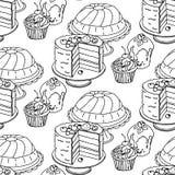 Modelo dibujado mano inconsútil del vector Tortas y magdalenas en un fondo blanco Imagen de archivo libre de regalías