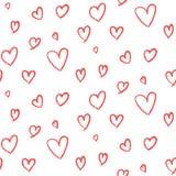 Modelo dibujado mano linda de los corazones Imágenes de archivo libres de regalías