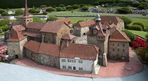 Modelo diminuto (castelo) no mini parque fotografia de stock