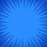 Modelo dinámico en tonos azules El marco del super héroe, parte radial del cómic alinea el fondo, ilustración del vector