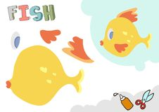 Modelo divertido del papel de pescados Pequeño proyecto casero del arte, juego de papel de DIY Cortado y pegamento Recortes para  Imagen de archivo libre de regalías