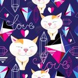 Modelo divertido inconsútil de gatos enamorados Imagen de archivo libre de regalías
