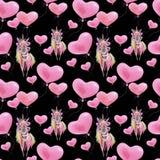 Modelo divertido inconsútil de la acuarela para el día de tarjeta del día de San Valentín con unicornios y globos Papel pintado d stock de ilustración