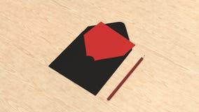 Modelo do cartão no envelope quadrado com lápis imagens de stock