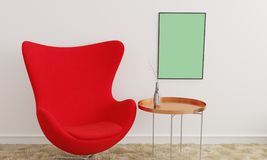 Modelo do cartaz com uma cadeira vermelha ilustração royalty free