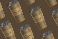 Modelo do copo de café do teste padrão de Brown no fundo imagens de stock