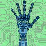 Modelo do desenho do braço do robô Pode ser usado como uma ilustração de ideias da robótica, inteligência artificial, prótese biô Foto de Stock