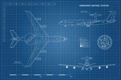 Modelo do esboço do avião militar Opinião da parte superior, a dianteira e a lateral Avião do exército com aviso e sistema de con ilustração stock
