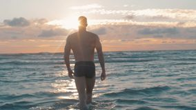 Modelo do esporte no por do sol na praia Parte externa modelo masculina apta na luz do por do sol video estoque