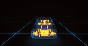 Modelo do fio do carro desportivo com fundo de néon azul do preto do ob Imagens de Stock