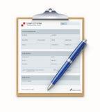 Modelo do formulário da amostra ilustração stock