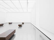 Modelo do interior vazio da galeria com lona branca Imagem de Stock Royalty Free