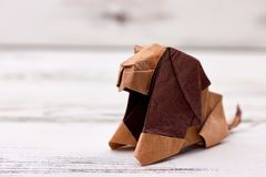 Modelo do leão 3D do origâmi Foto de Stock