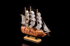 Modelo do navio de madeira, isolado Fotografia de Stock