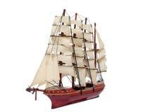 Modelo do ofício do presente do navio do brique de madeira fotografia de stock