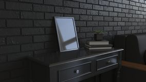Modelo do quadro do cartaz ou da foto no interior imagem de stock royalty free