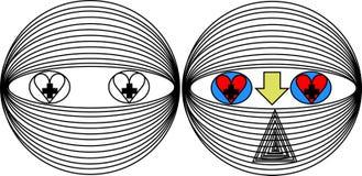 Modelo do robô com os olhos dos sentimentos do amor ilustração royalty free