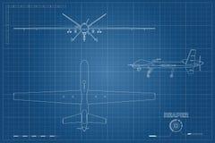 Modelo do zangão militar no estilo do esboço Opinião da parte superior, a dianteira e a lateral Aviões de exército para a intelig Imagens de Stock Royalty Free