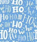 Modelo drenado mano de la Navidad Fondo inconsútil con hohoho del texto Libro Blanco azul y del envoltorio para regalos libre illustration