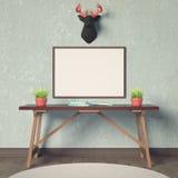 Modelo e cervos horizontais do cartaz Fotos de Stock