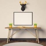 Modelo e cervos horizontais do cartaz Foto de Stock Royalty Free