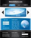 Modelo editable azul y negro del Web site Imagen de archivo libre de regalías
