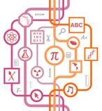 Modelo educativo de los símbolos de la escuela fotografía de archivo