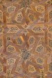 Modelo elaborado de la textura de la estrella en la puerta de madera de la mezquita en Fes, Marruecos, África del Norte fotos de archivo