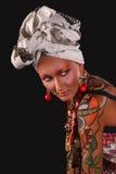 Modelo elegante con arte brillante del maquillaje y de carrocería. Imagen de archivo libre de regalías